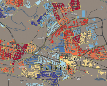 Mixed deprivation in Falkirk, from Oliver O'Brien's SIMD map.