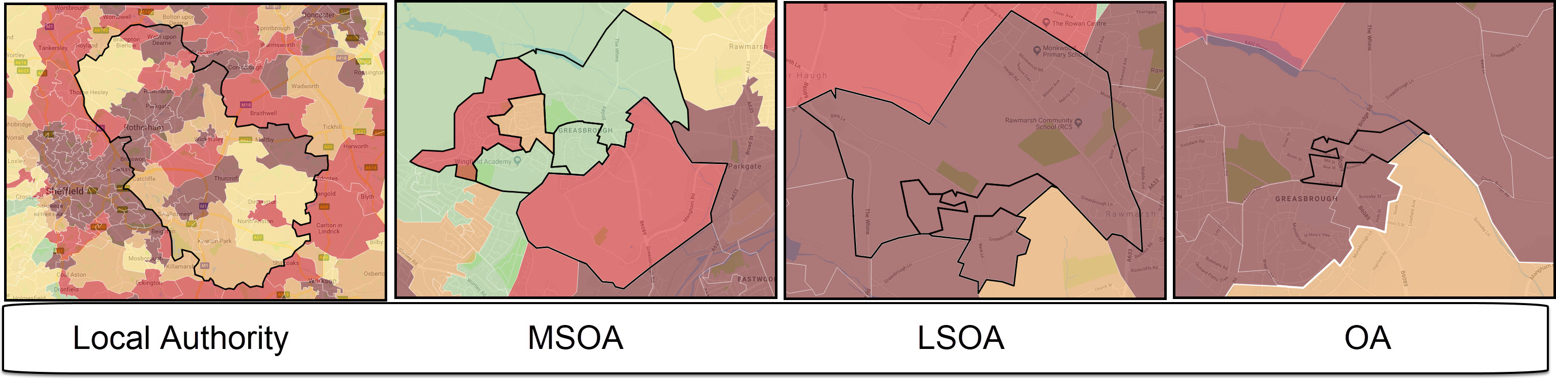 Images show how OAs nestles within LSOAs and LSOAs within MSOAs.