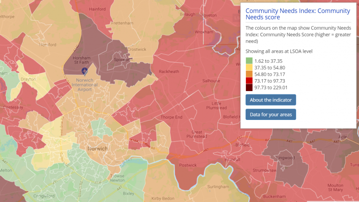 Shows a choropleth map around Norwich, displaying the Cmmunity Needs Index