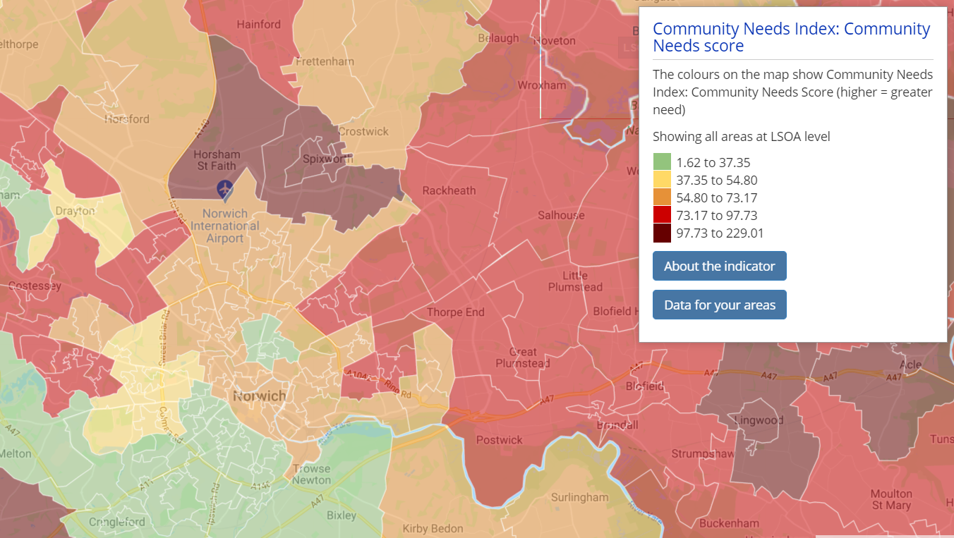 Choropleth map of the Community Needs Index around Norwich.