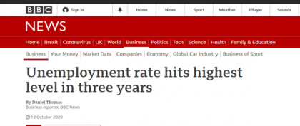 Shows BBC News headline 'Unemployment rates hits highest levels in three years'e