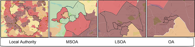 Map showing difference in Local Authority, MSOA, LSOA and OA geographical sizes.