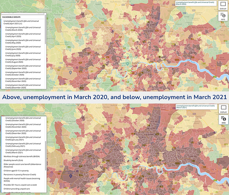 Two heat maps highlighting the change in unemployment figures from March 2020 to March 2021